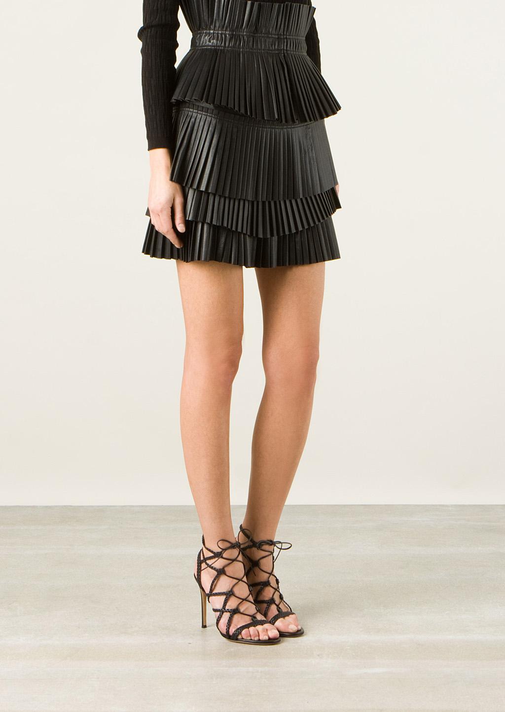 marant jeneth black pleated leather mini skirt in
