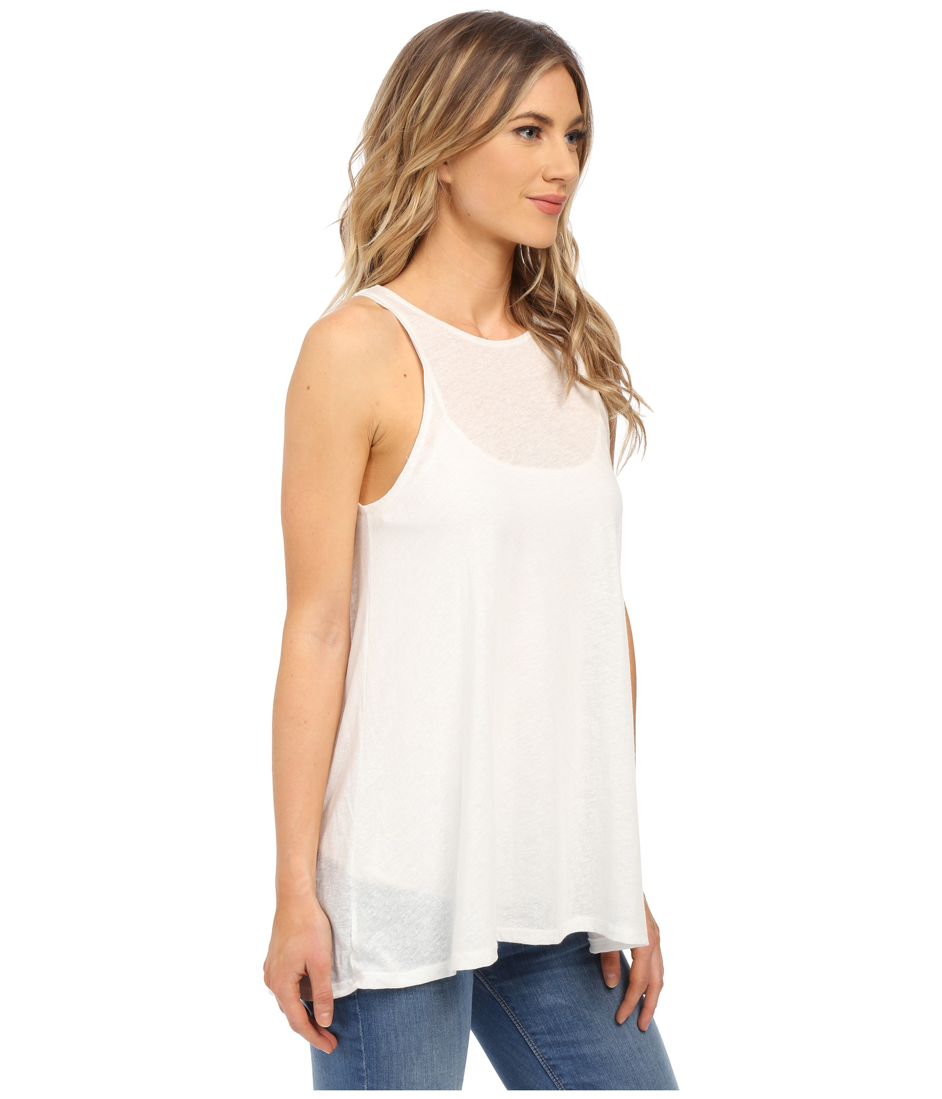 10dbcc92c RVCA Label High Neck Tunic Tank Top in White - Lyst