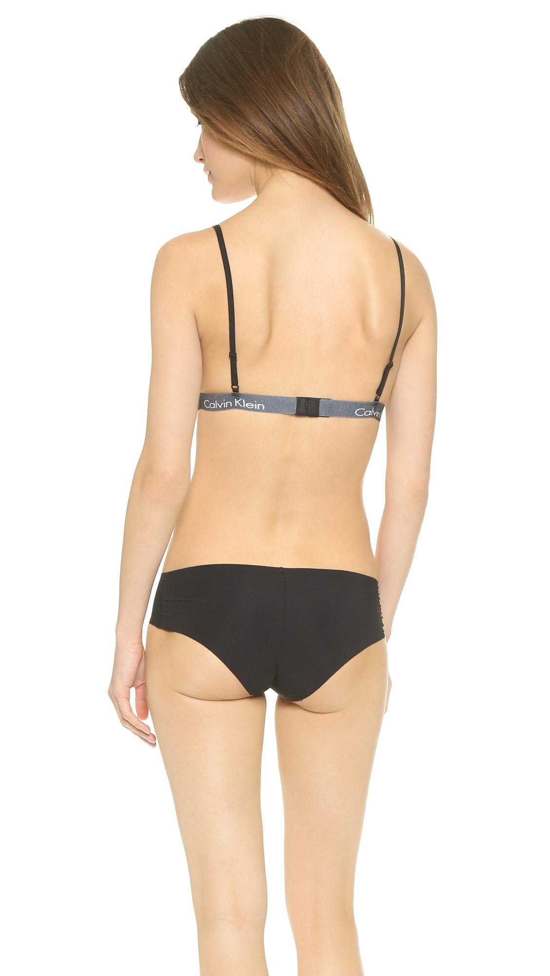 59eeb9109c2556 Lyst - Calvin Klein Fashion Cotton Triangle Bralette - Black in Black