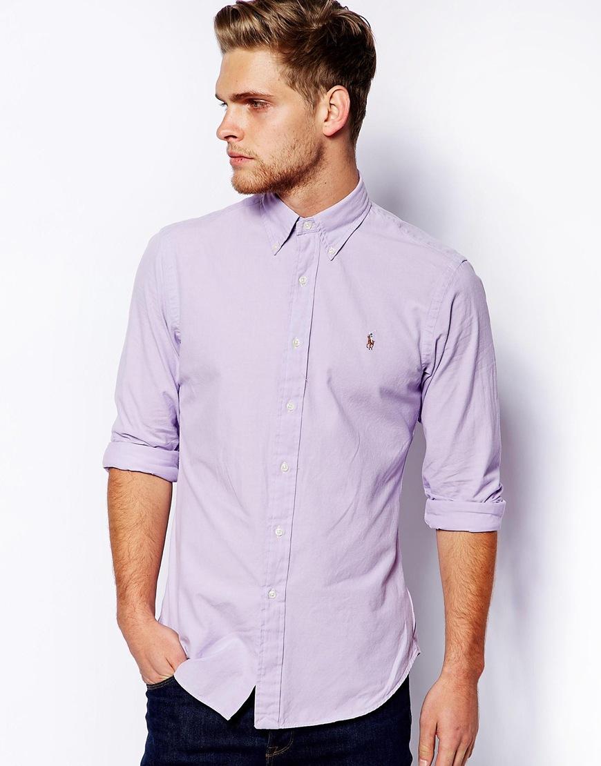 15f1b515ca9 ... sale lyst polo ralph lauren chambray shirt in slim fit in purple for men  d50de 98029 ...