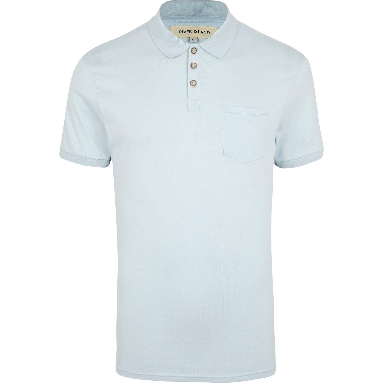 Lyst River Island Light Blue Short Sleeve Polo Shirt In