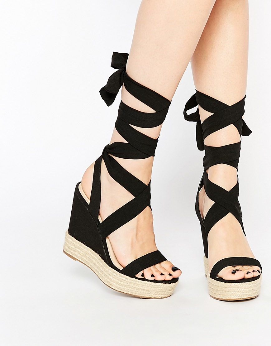 Asos Tornado Lace Up Wedges in Black | Lyst