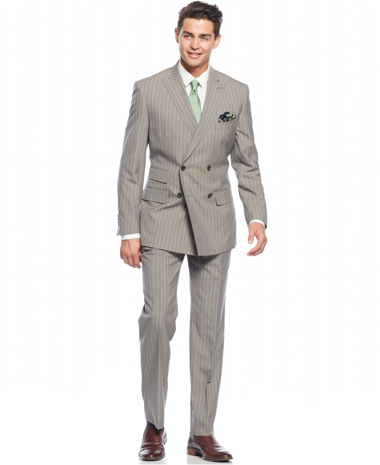 English laundry Peak Lapel Slim-fit Double Breasted Suit in Gray
