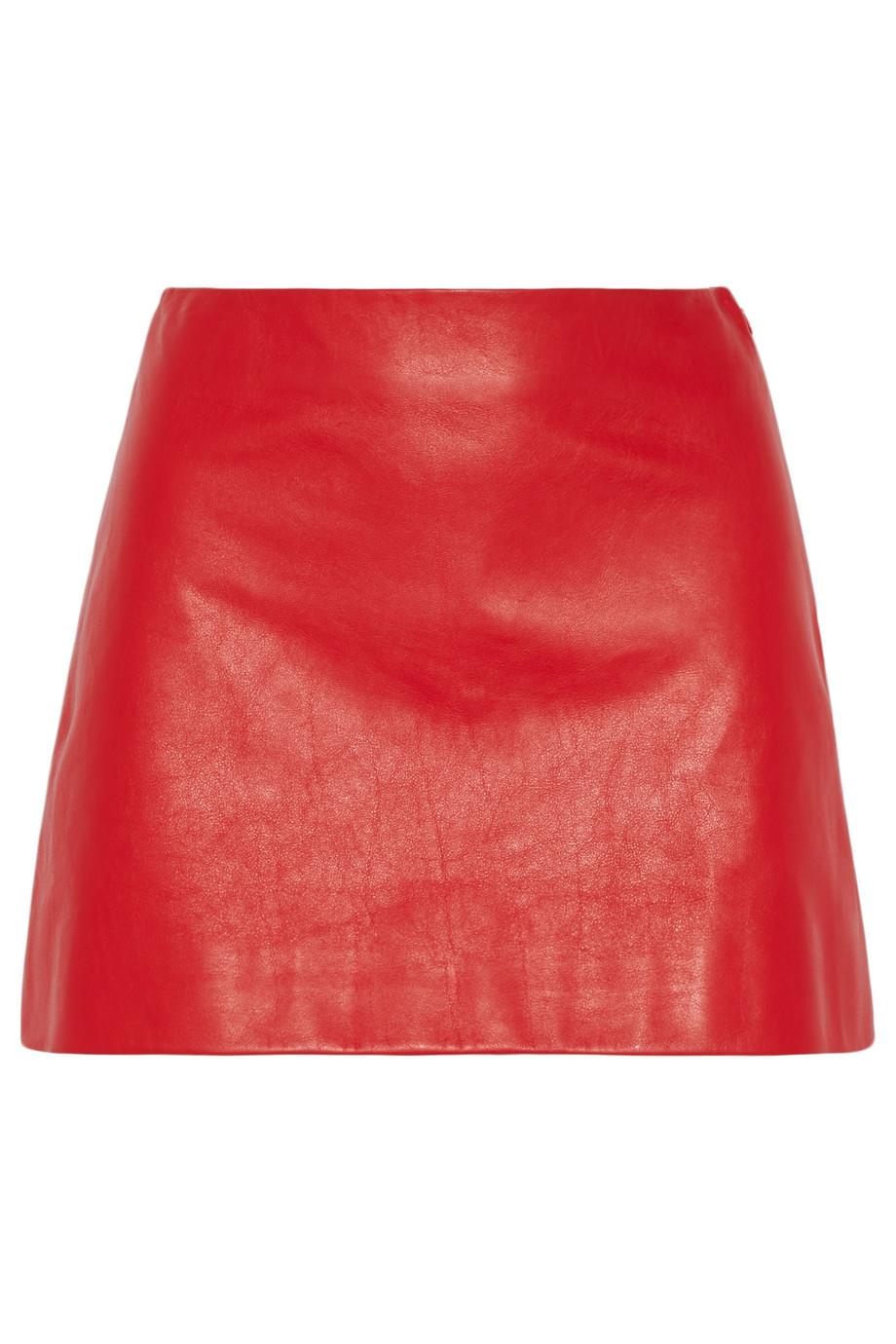 Miu miu Leather Mini Skirt in Red | Lyst