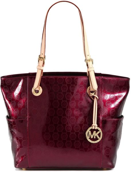 michael michael kors signature patent leather tote in red. Black Bedroom Furniture Sets. Home Design Ideas
