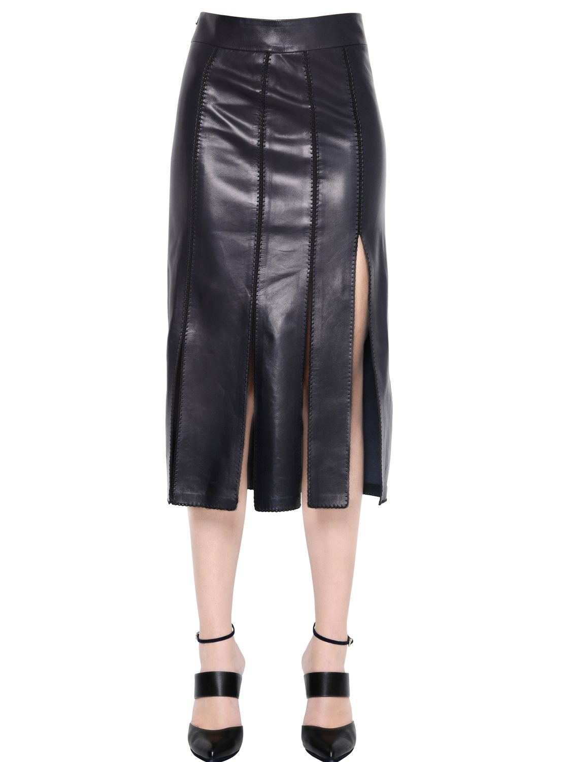 ricci paneled nappa leather skirt in blue save 40