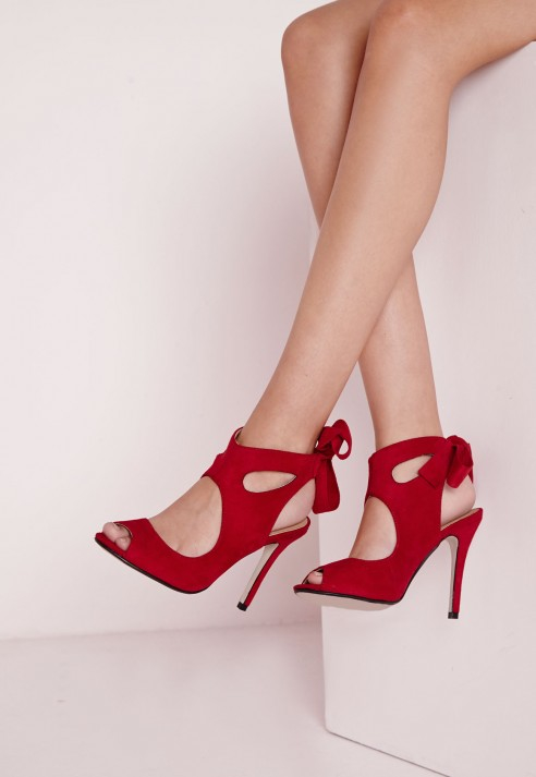 Lyst - Missguided Bow Tie Back Heeled Sandals Red in Red