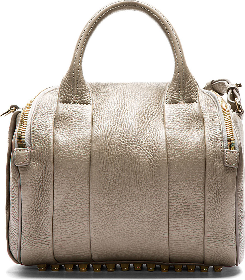 81d4abef761a Lyst - Alexander Wang Grey Pebbled Leather Rockie Dumbo Duffle Bag ...