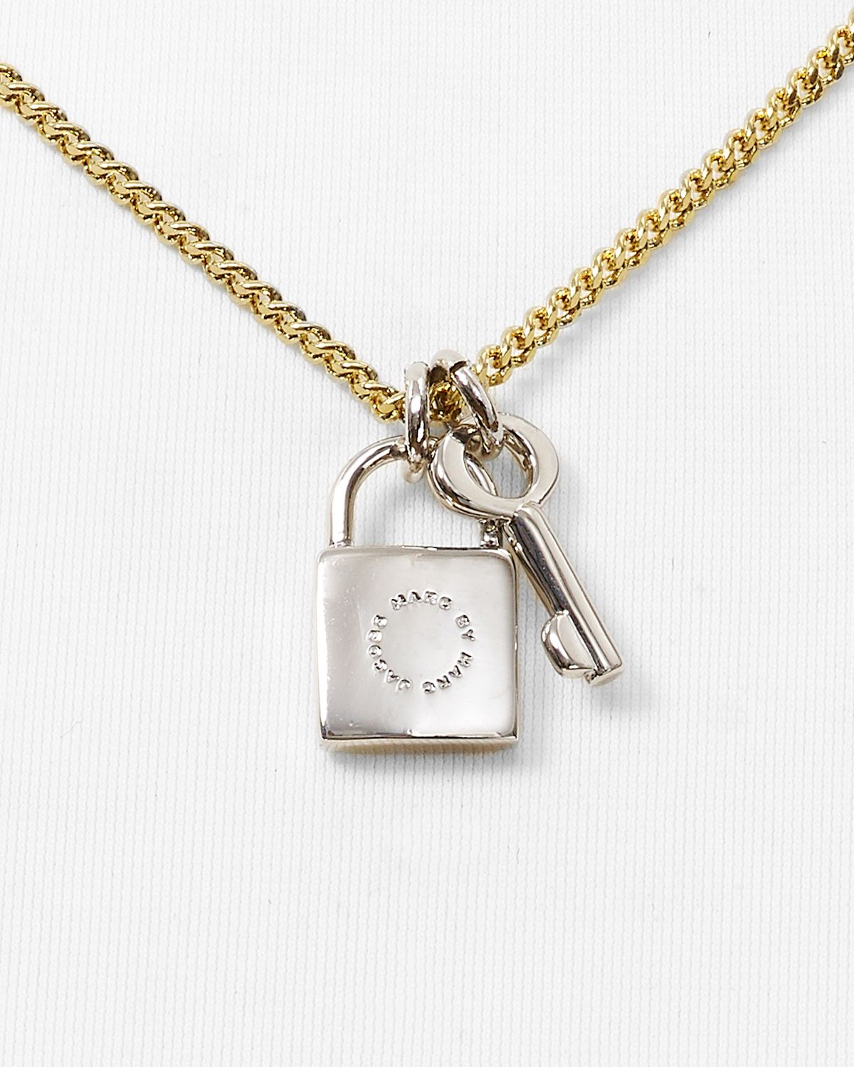Lyst marc by marc jacobs lock key pendant necklace 17 in metallic gallery aloadofball Image collections