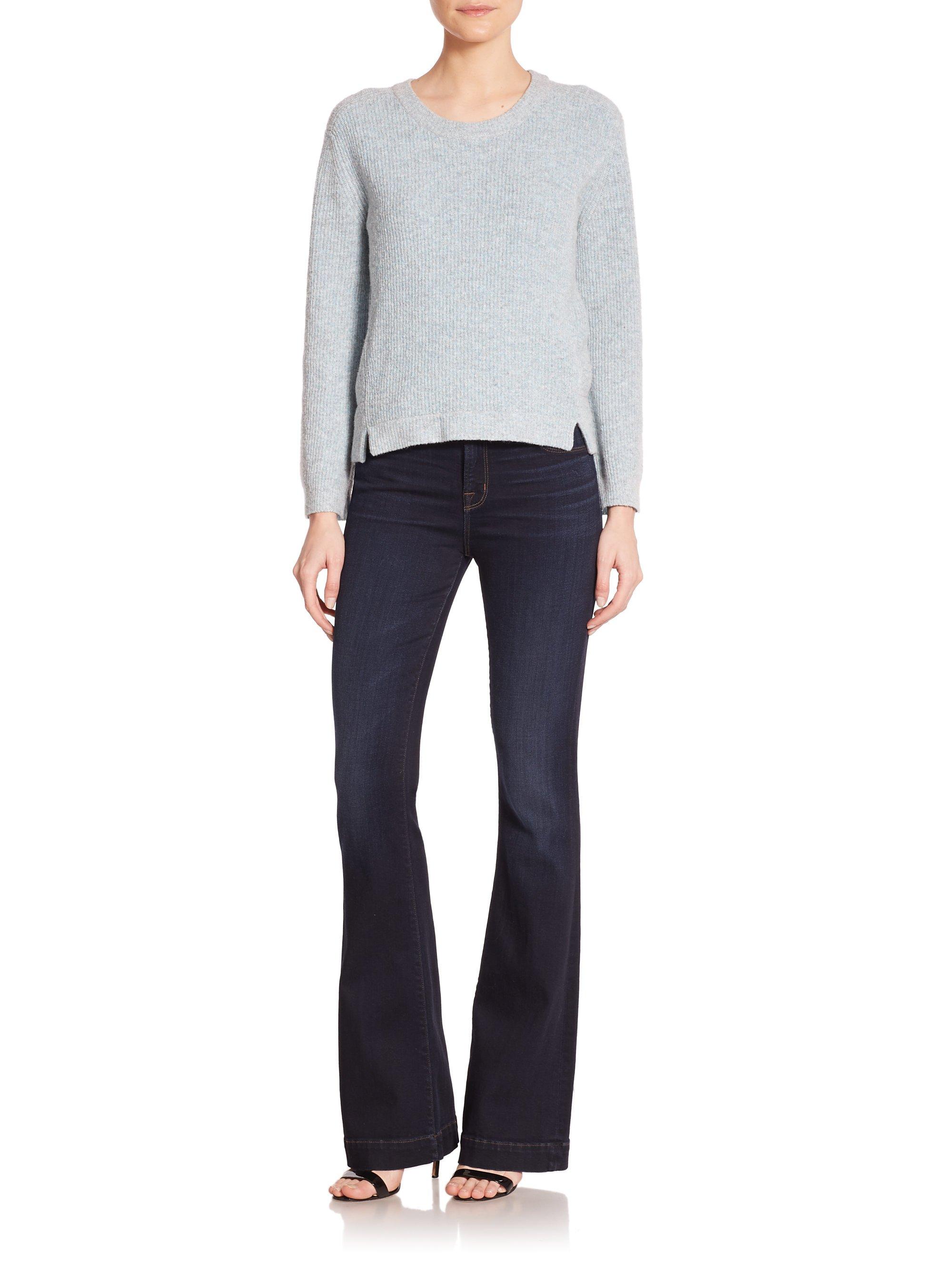 j brand maria high rise flare jeans in blue lyst. Black Bedroom Furniture Sets. Home Design Ideas