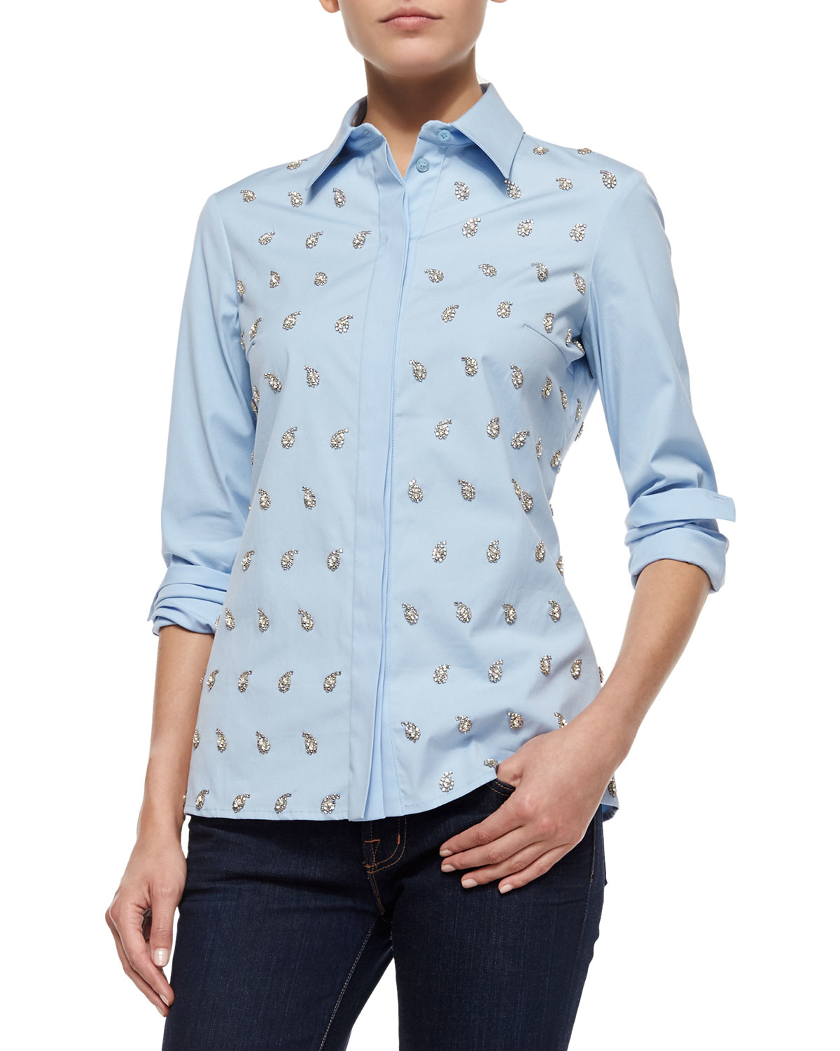 Lyst Michael Kors Embroidered Classic Button Down Shirt
