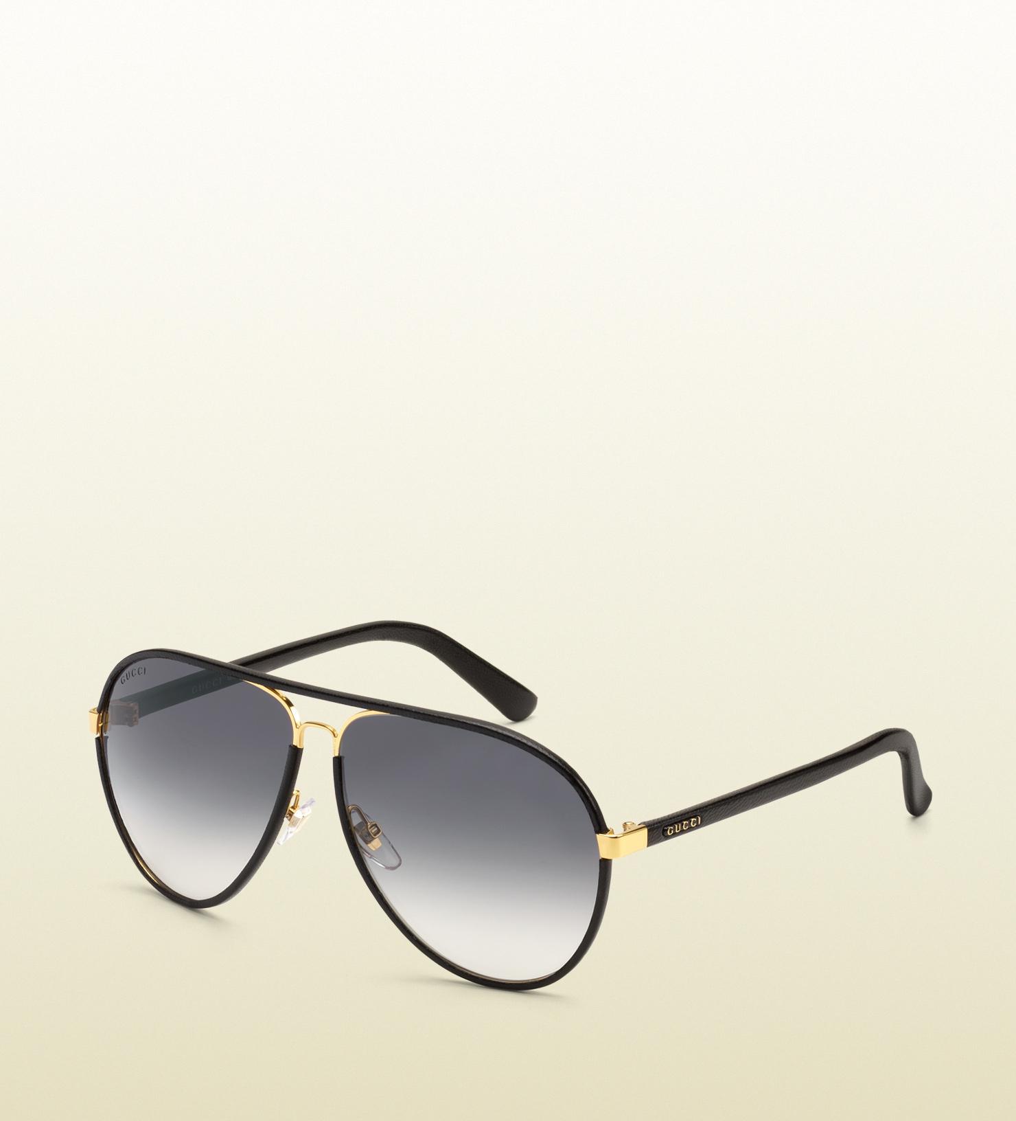 660571a0968c5 Gucci Matte Black Aviator Sunglasses
