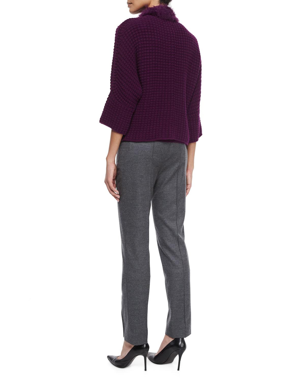 escada crochet cardigan w removable fur scarf in purple lyst