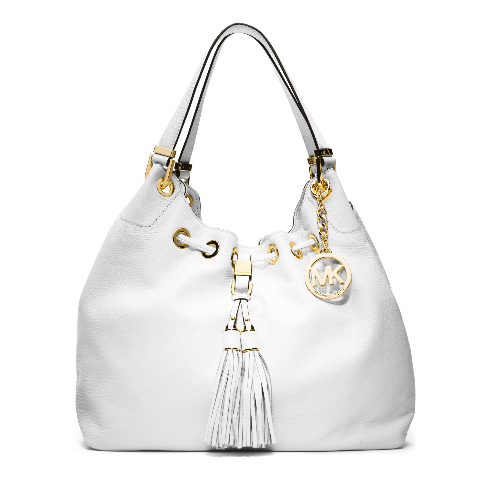 20a46cd06dde ... discount lyst michael kors camden large leather shoulder bag in white  4fb84 5cb77