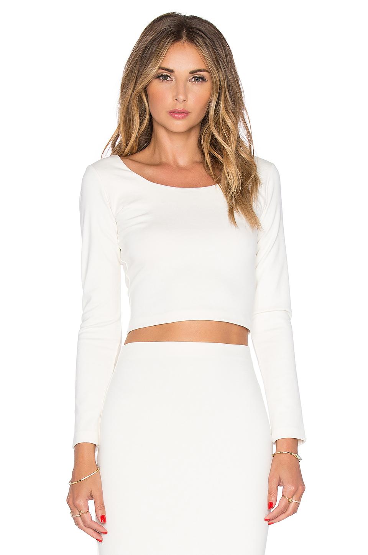 Amanda uprichard Long Sleeve Crop Top in White | Lyst