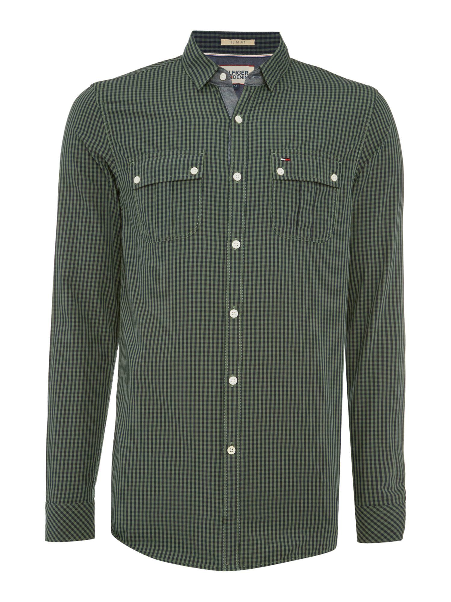 tommy hilfiger fisk check slim fit long sleeve shirt in. Black Bedroom Furniture Sets. Home Design Ideas