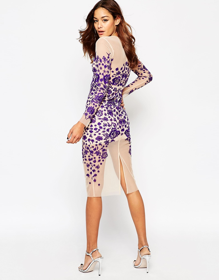Asos Lace Embroidered Ergonomic Midi Bodycon Dress in Natural | Lyst