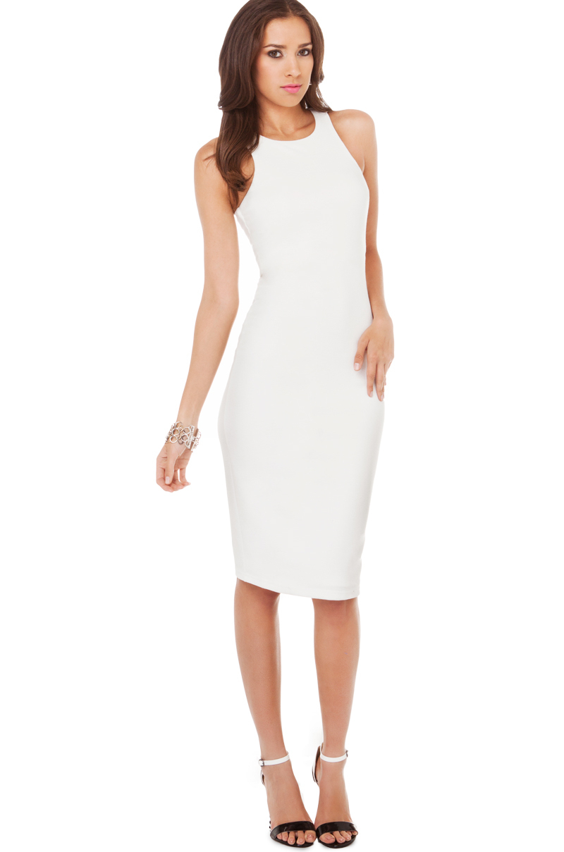 lyst  little mistress bodycon midi dress in white in white