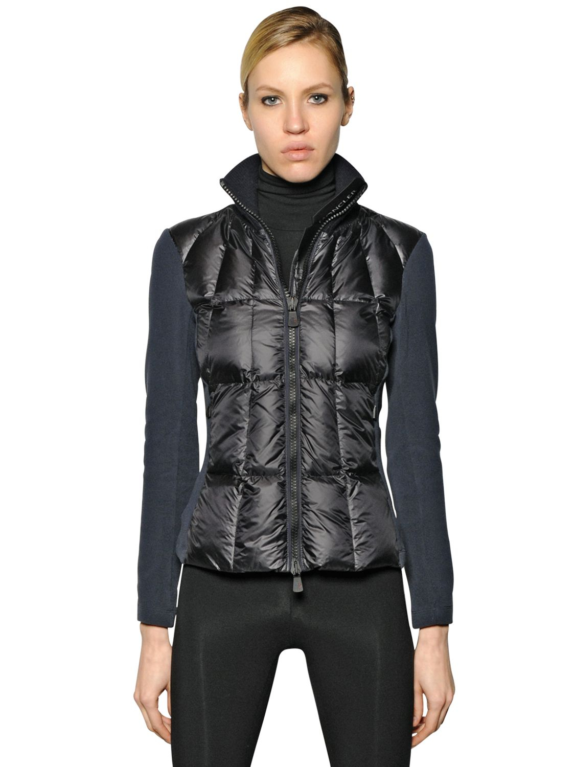 Moncler grenoble Quilted Nylon Technique & Fleece Jacket in Blue ...