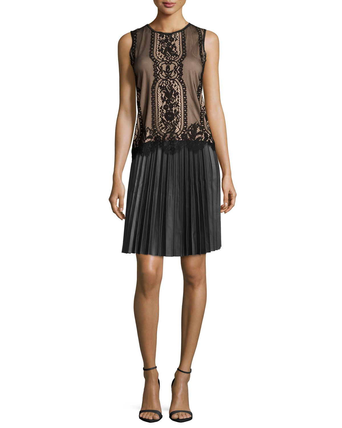 5b4f4515839c1a Lyst - Max Studio Sleeveless Lace Overlay Blouse in Black