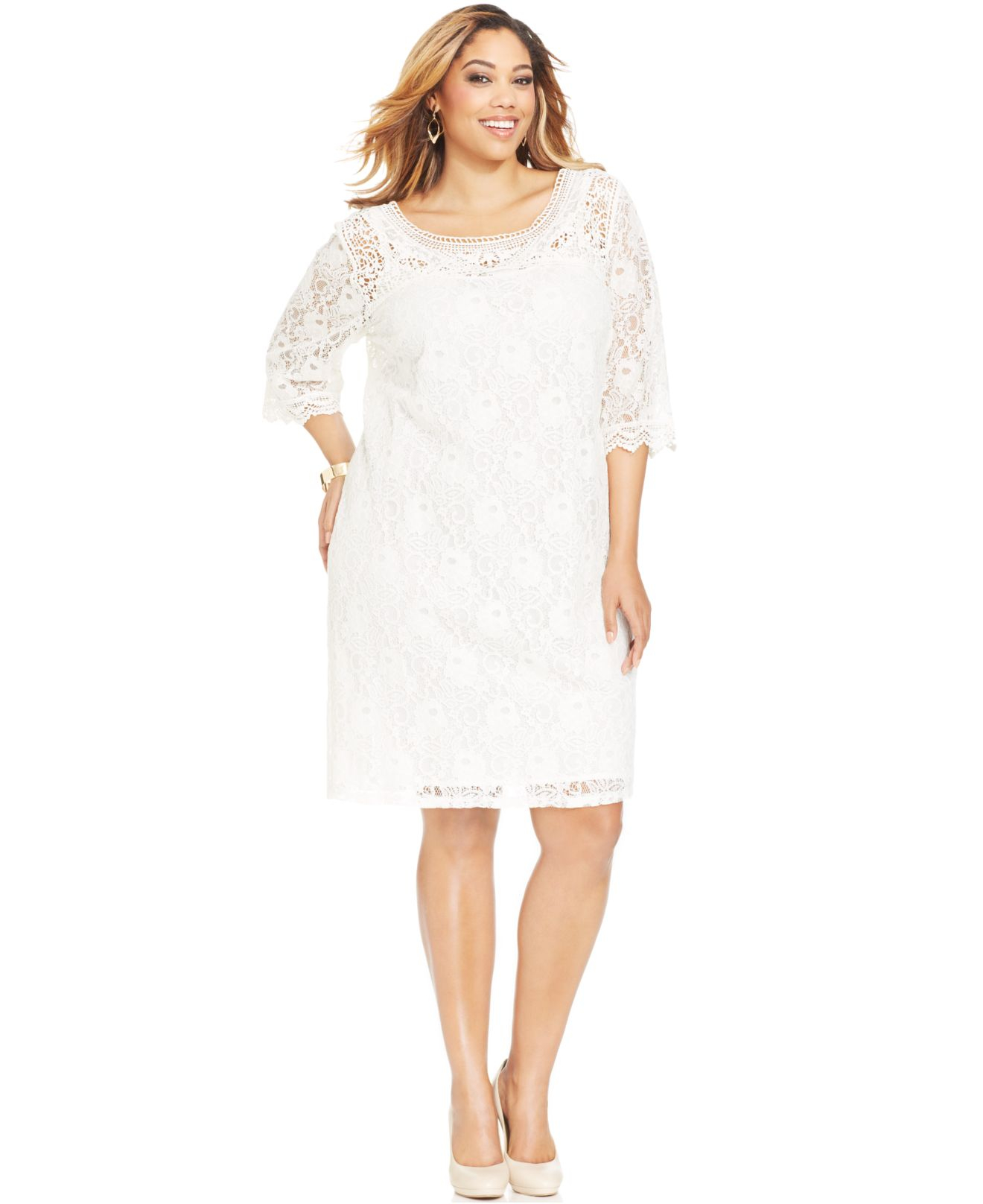 6423f864493 Plus Size White Lace Dress With Sleeves - Dress Foto and Picture