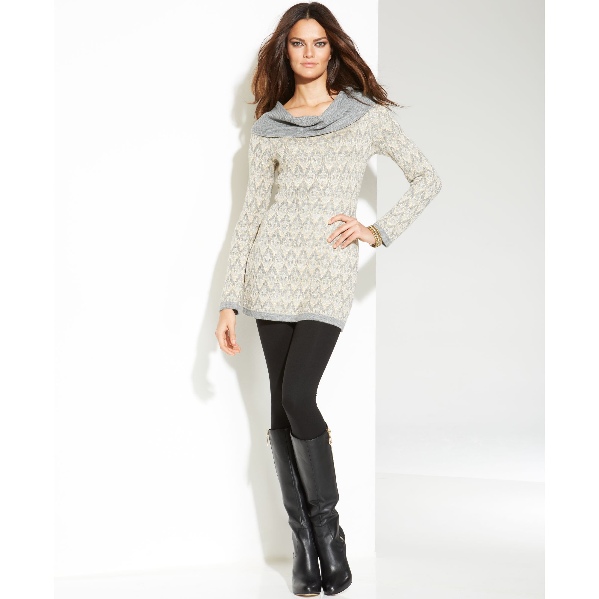 Inc international concepts Petite Cowl-neck Metallic Tunic Sweater ...