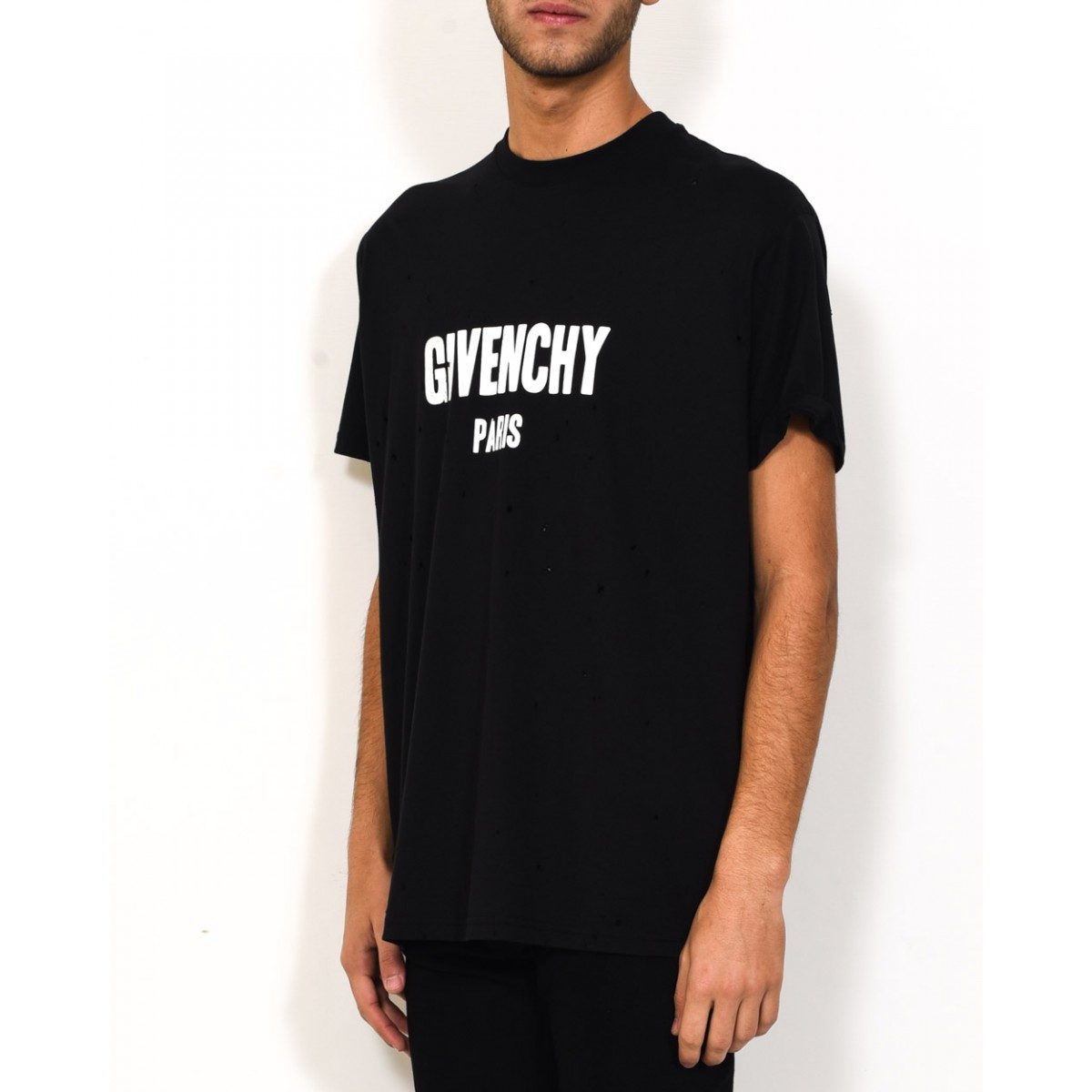 Givenchy Destroyed Effect Columbian Fit T Shirt In Black