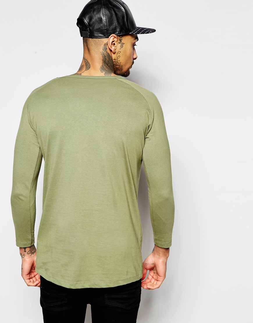 Good For Nothing 3 4 Raglan Sleeve T Shirt In Green For