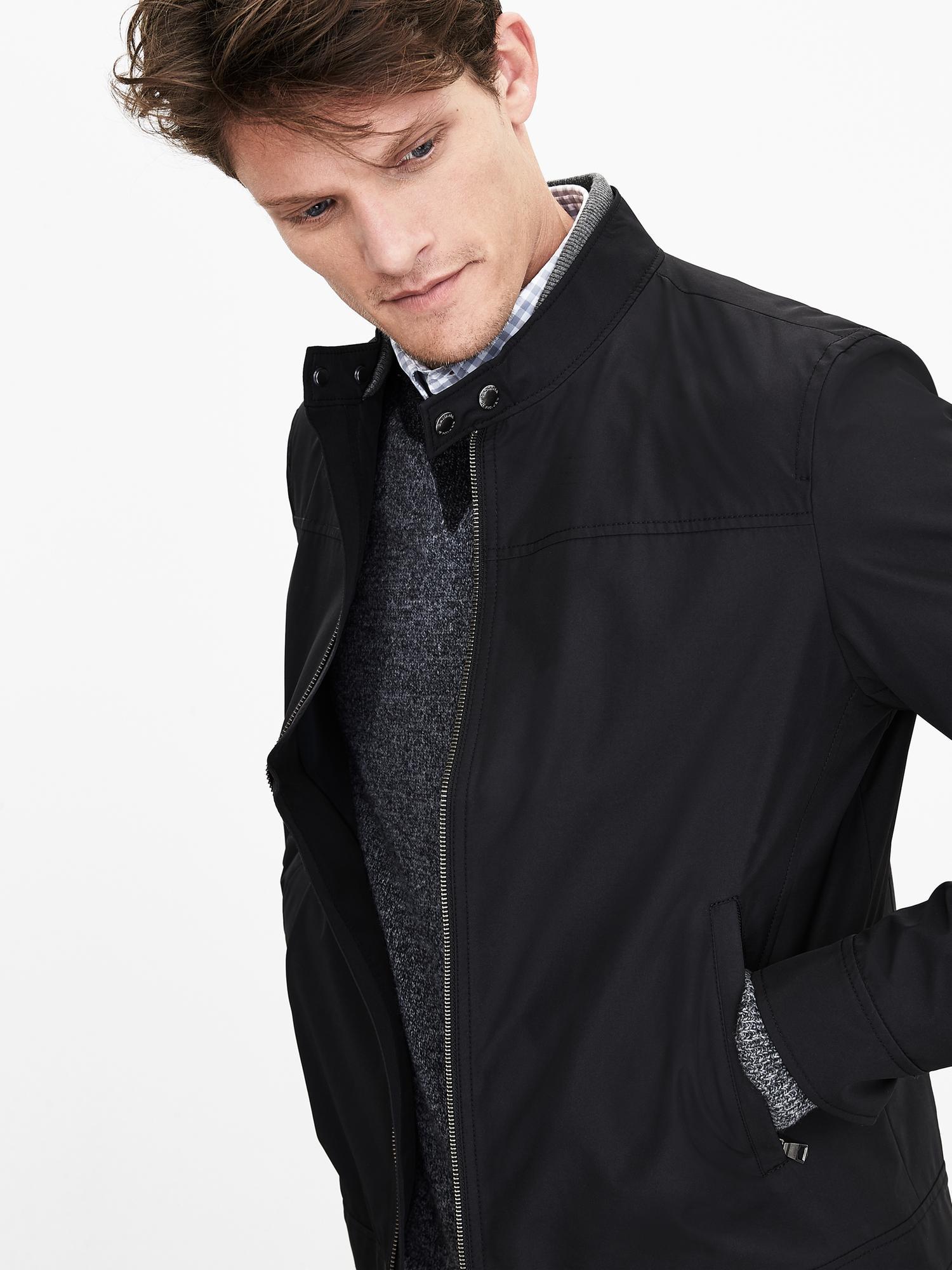 Lyst banana republic black moto zip jacket in black for men for Banana republic torino