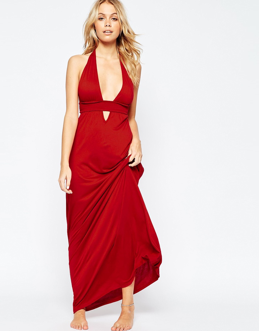 Asos Jersey Ruched Halter Maxi Beach Dress in Brown - Lyst