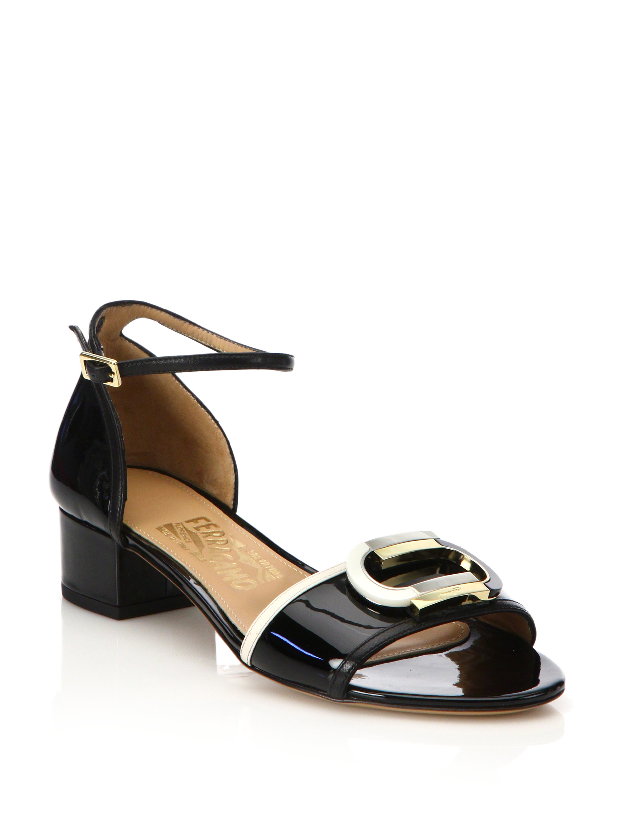 Lyst Ferragamo Glenn Colorblock Patent Leather Mid Heel