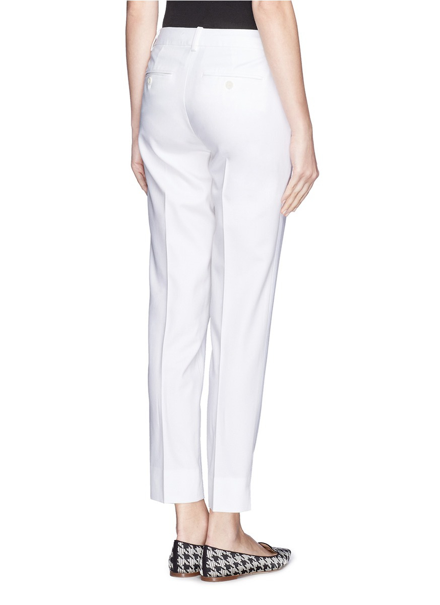 Theory 'Testra 2S' Single Pleat Cropped Pants in White | Lyst
