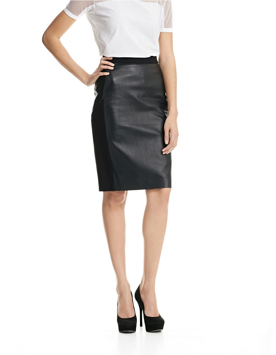 585406f0b6225 Dkny Perforated Leather Pencil Skirt with Ponte Sides and Back in ...