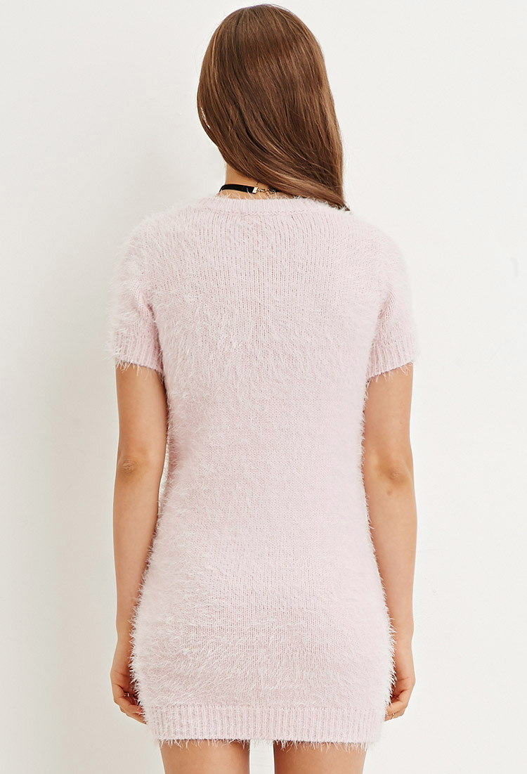 Forever 21 Fuzzy Knit Sweater Dress in Pink | Lyst
