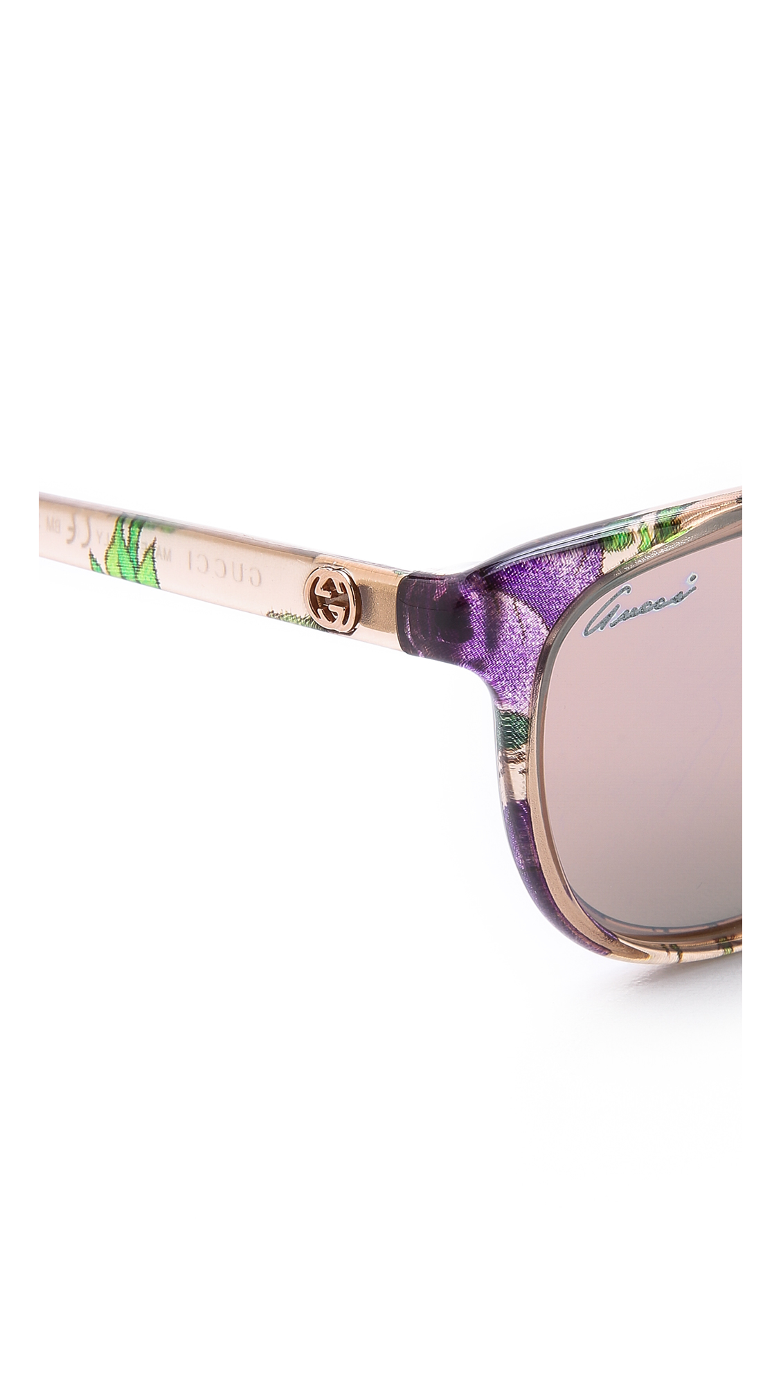 c2ebba80176 Lyst - Gucci Floral Sunglasses in Natural