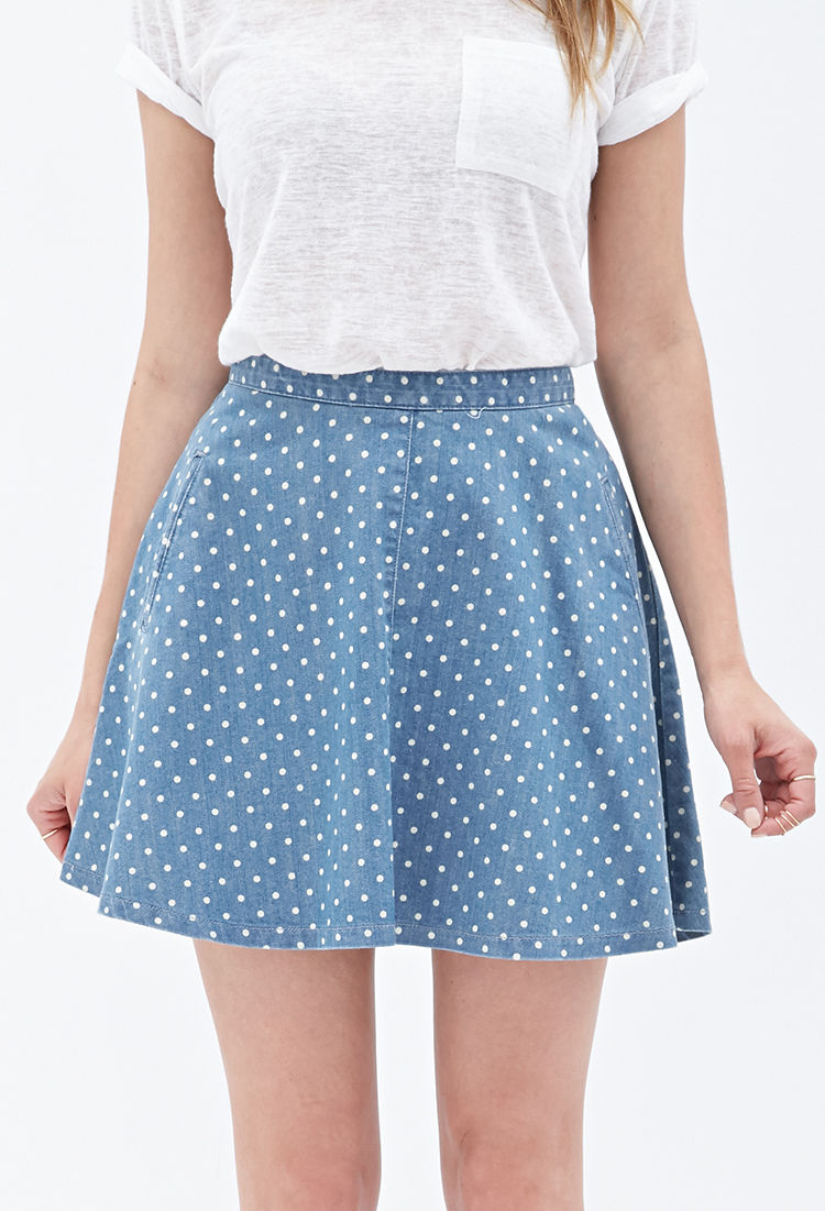 343016a4f3 Forever 21 Contemporary Dotted Denim Skater Skirt in Blue - Lyst