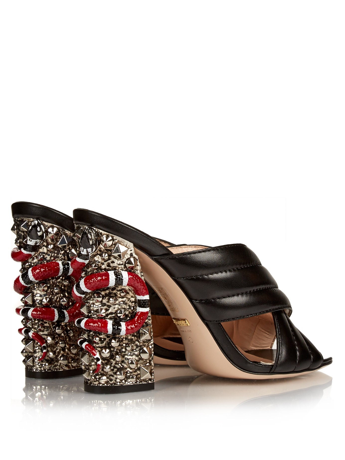 90adf9f80fb Lyst - Gucci Sylvia Crossover Embellished Mules in Black