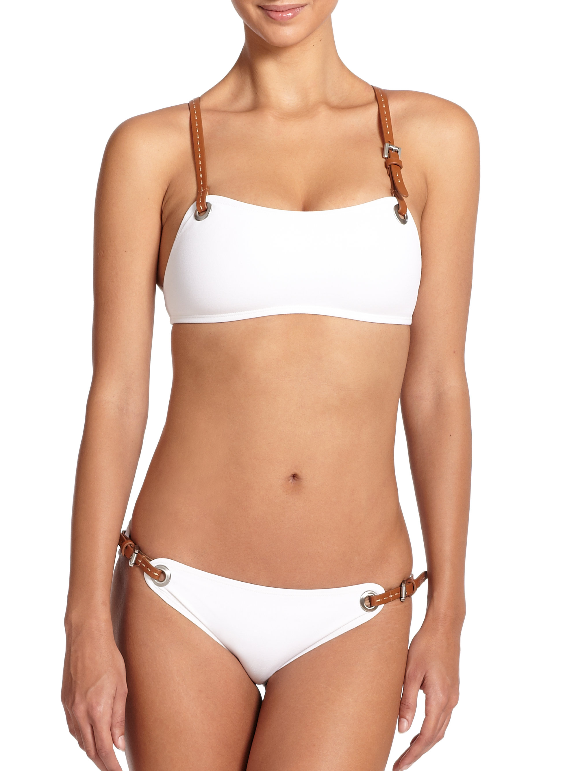 michael kors two piece belted bikini in white lyst. Black Bedroom Furniture Sets. Home Design Ideas
