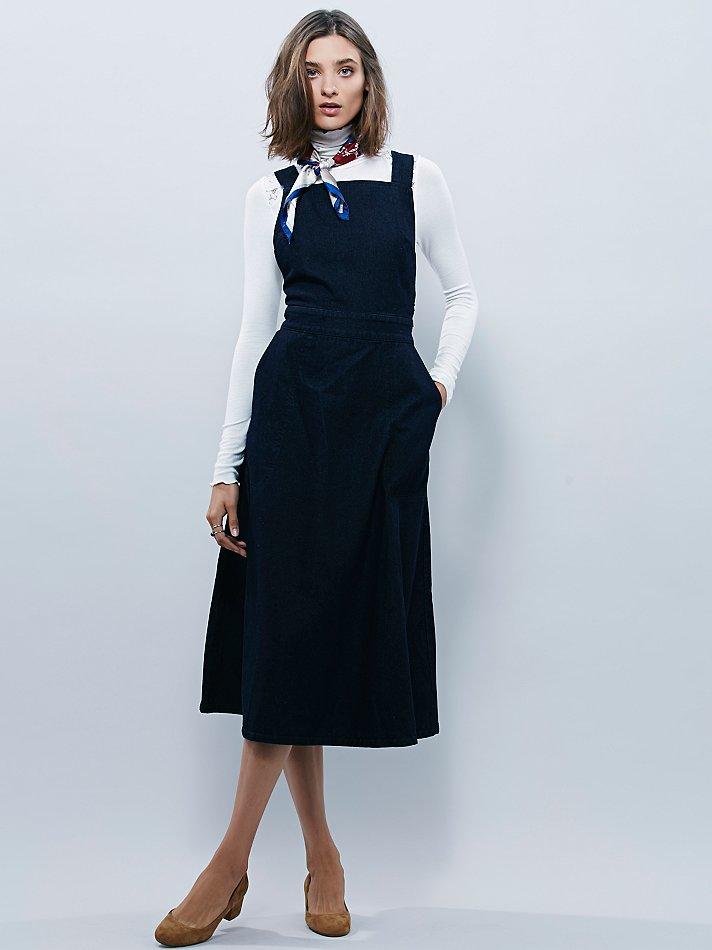 Free People Denim Apron Dress In Blue Lyst