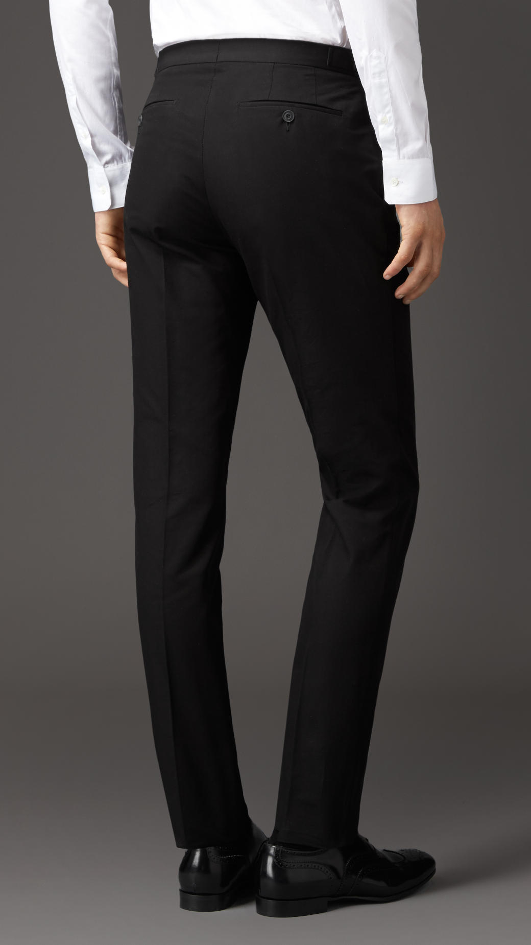 Burberry Slim Fit Cotton Trousers With Side Adjusters In