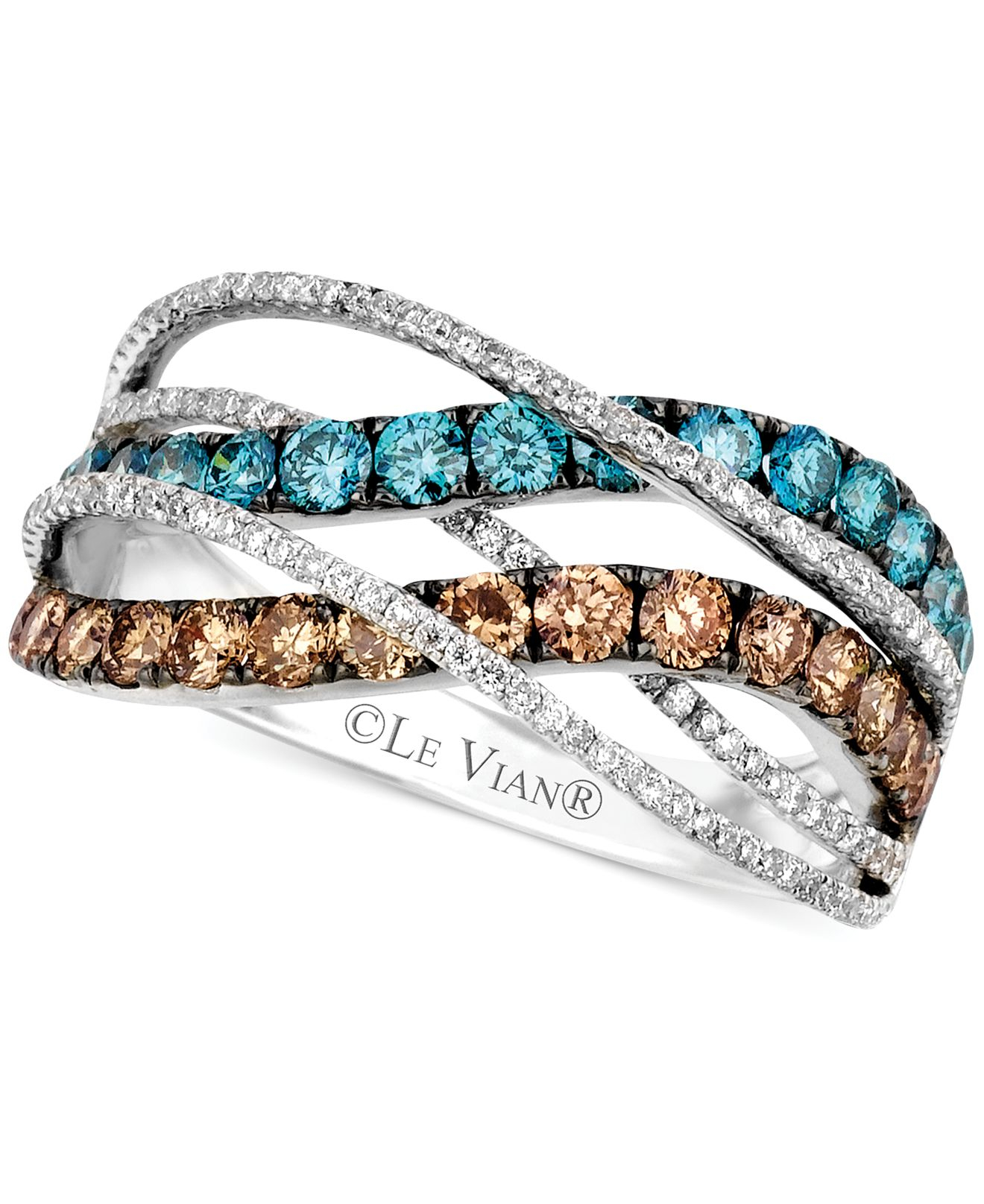 Le vian Chocolate And Ice Blue Diamond Swirl Ring In 14K White