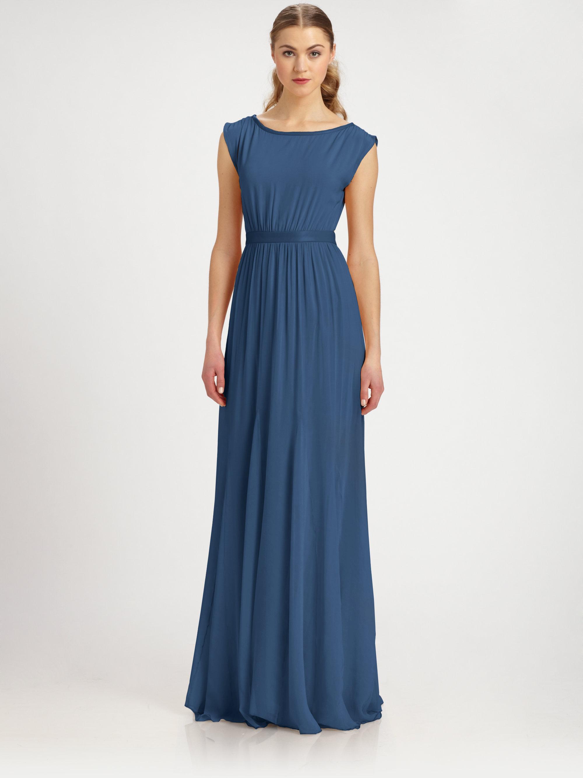 ba280450712 Lyst - Alice + Olivia Triss Stretch Silk Leather Maxi Dress in Blue