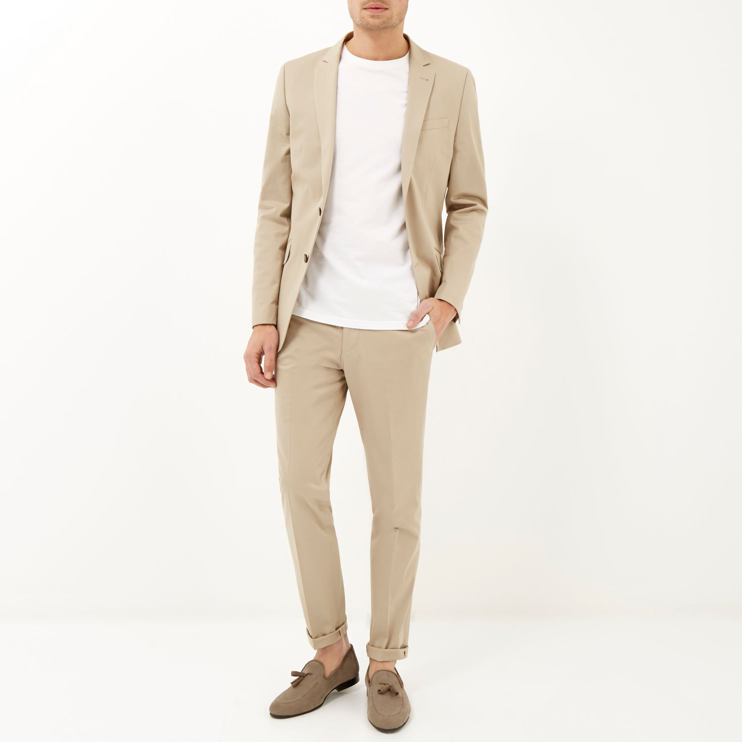 River island Cream Cotton Woven Skinny Suit Jacket in Natural for