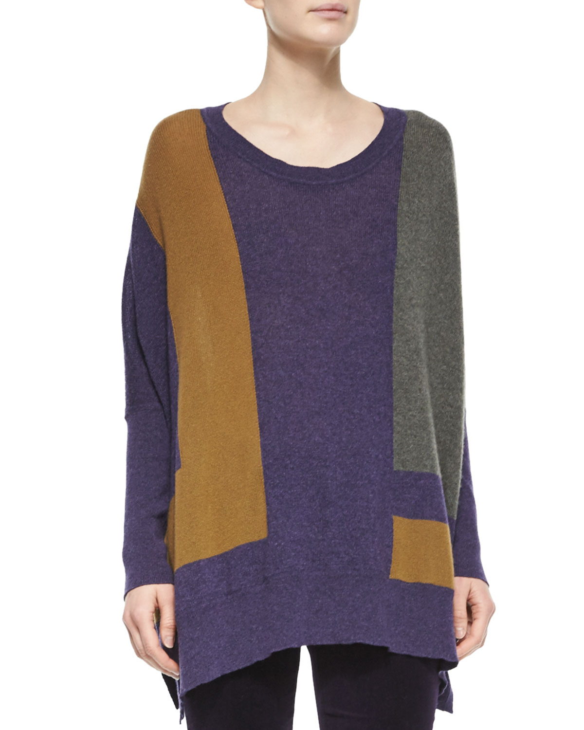 Knitting Pattern For Cashmere Poncho : Loro piana Cashmere Colorblock Knit Poncho Sweater Lyst