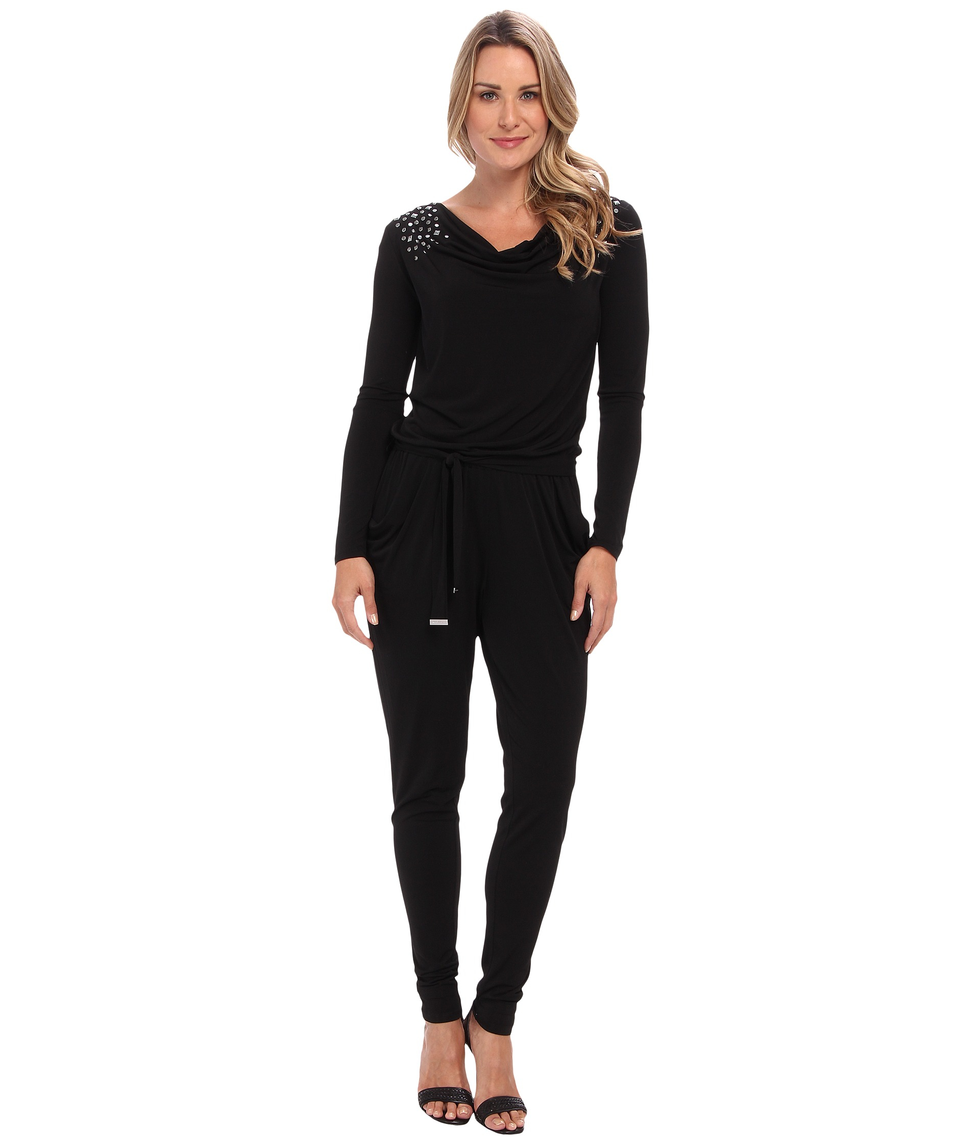 michael michael kors stud ls cowl jumpsuit in black lyst. Black Bedroom Furniture Sets. Home Design Ideas