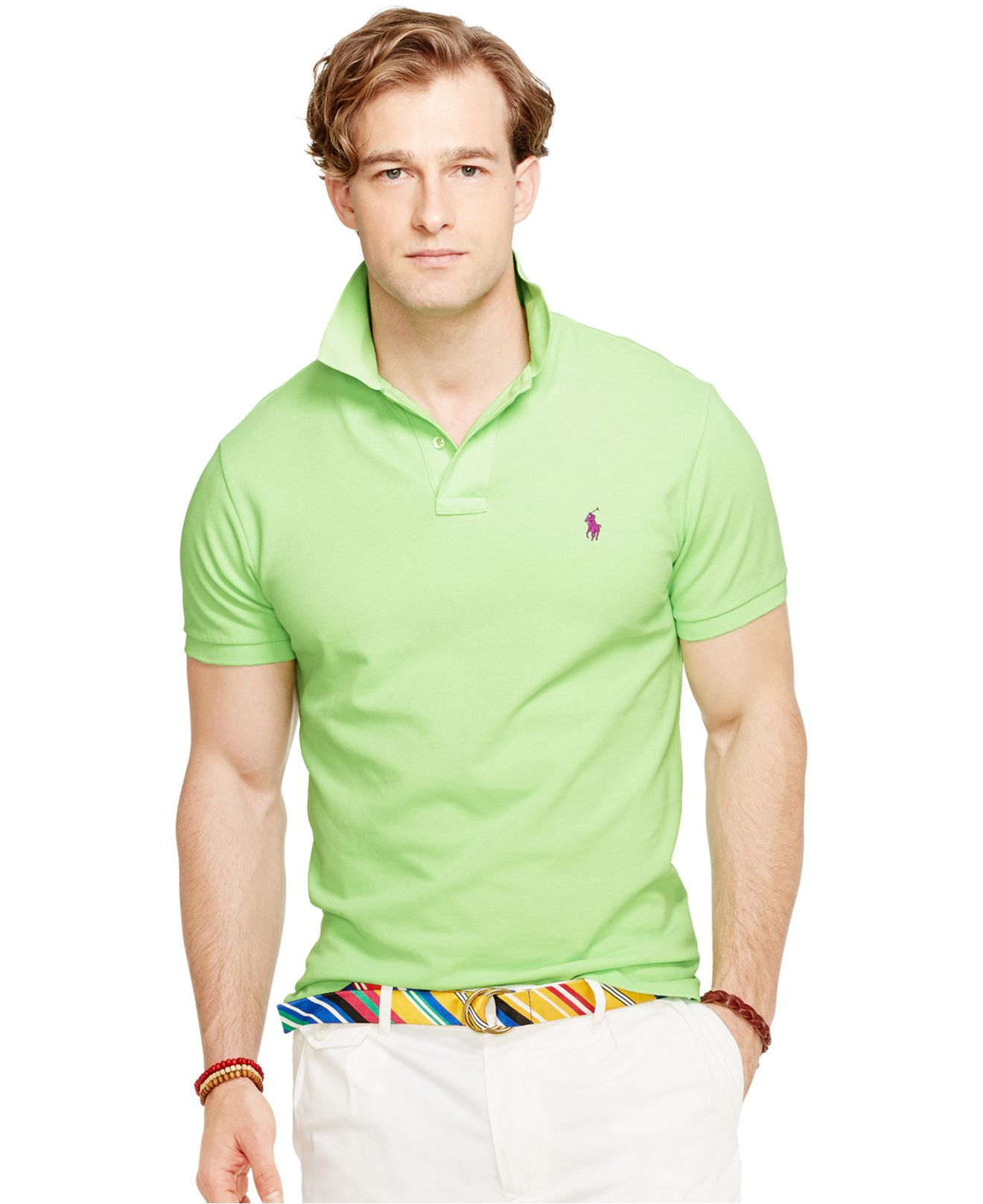 a655efa60e99 ... coupon code for lyst polo ralph lauren classic fit mesh polo in green for  men c326a