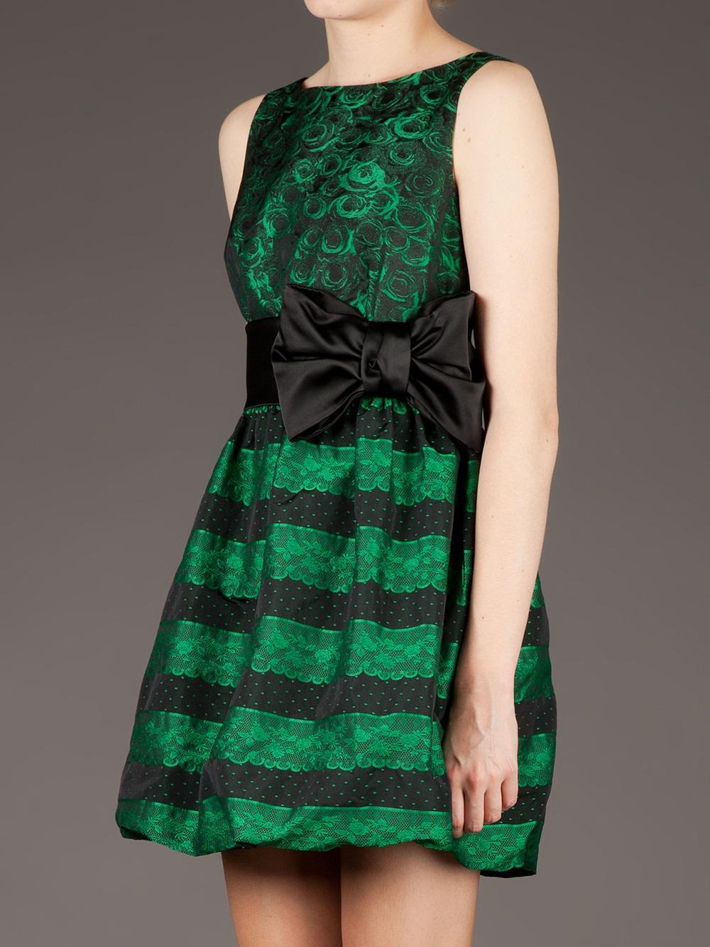 Lyst Red Valentino Rose Print Taffeta Dress In Black