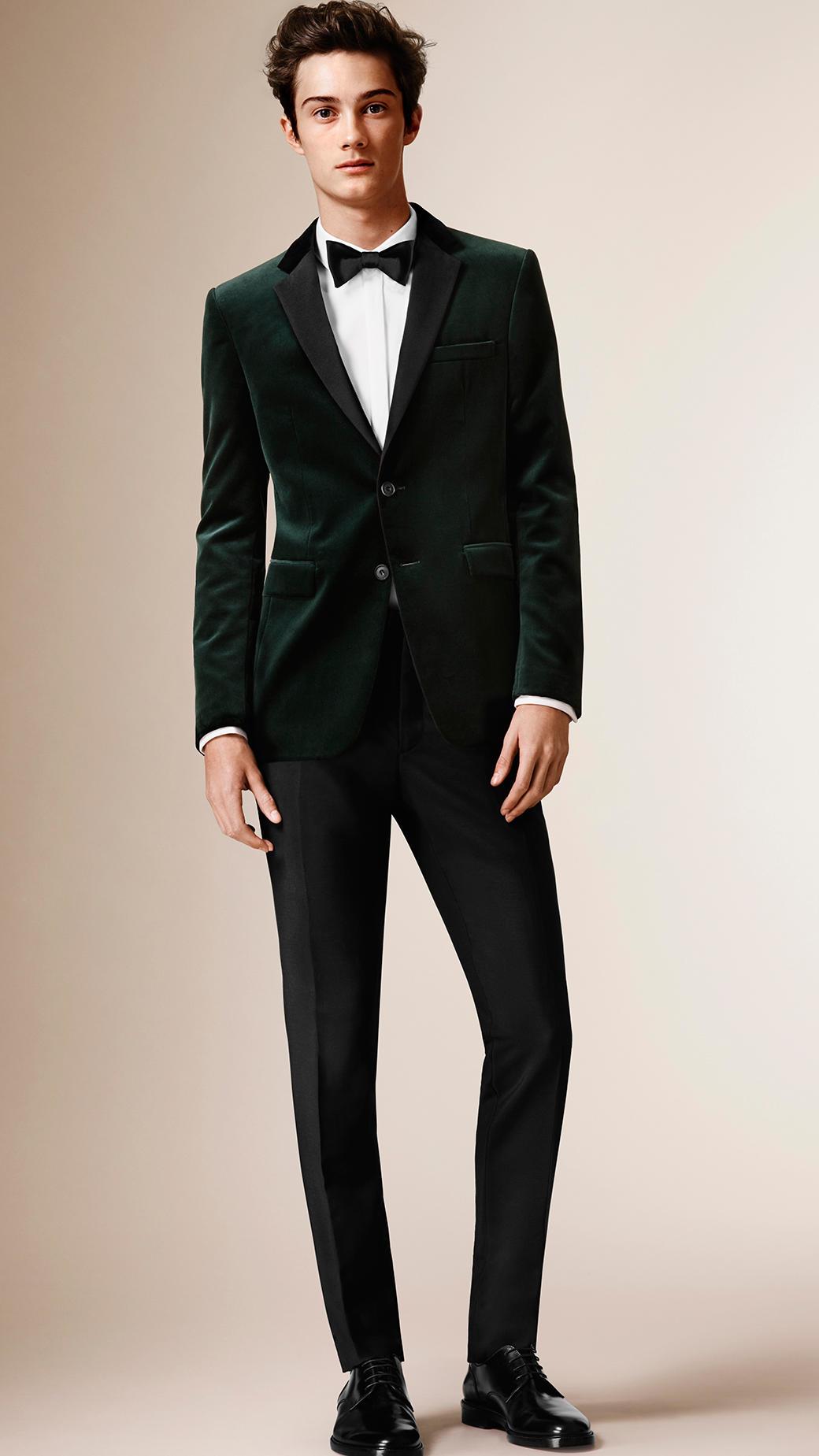 Lyst Burberry Slim Fit Velvet Tuxedo Jacket In Green For Men
