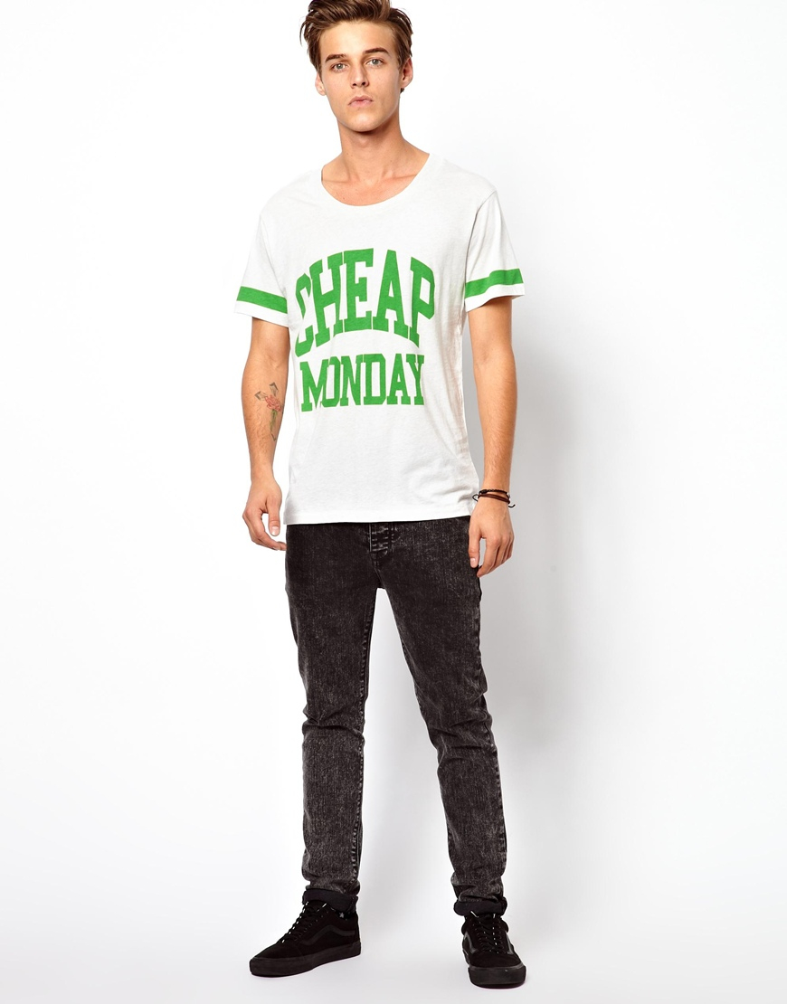 Lyst cheap monday college tshirt in white for men for Cheap college t shirts online