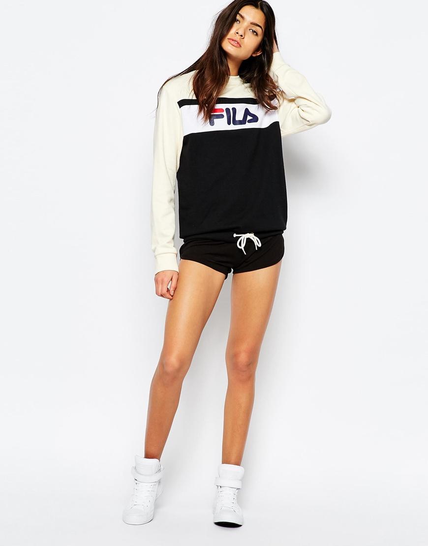 Fila Oversized Boyfriend Sweatshirt With Front Logo & Drawstring ...